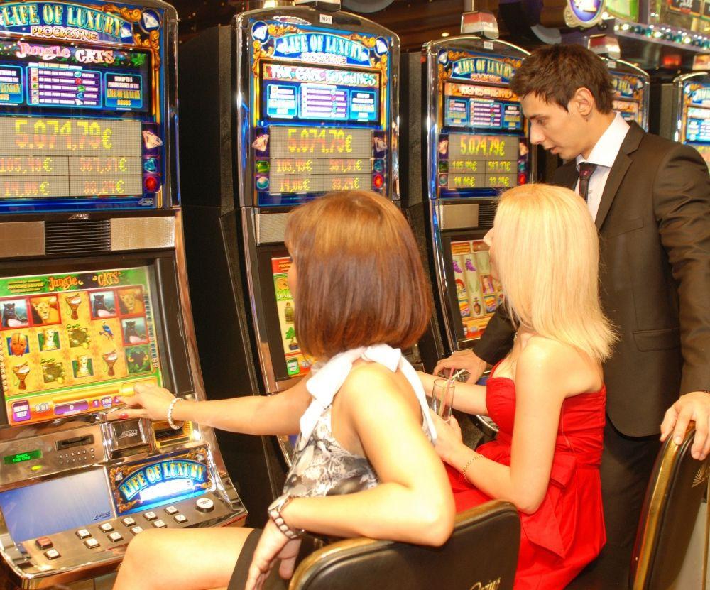 Having fun at the slot machines
