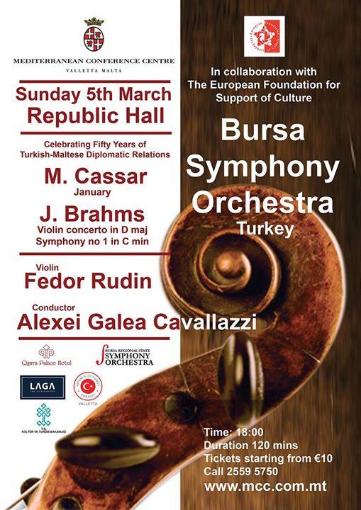 Bursa State Symphony orchestra plays Cassar and Brahms