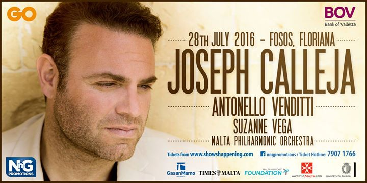 Joseph Calleja Concert 2016 with Antonello Venditti & Suzanne Vega