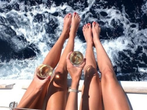 Chill with friends sipping champagne