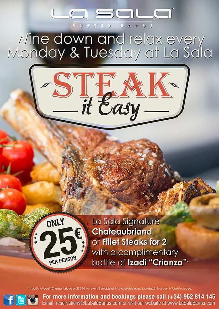 Steak it Easy offer at La Sala