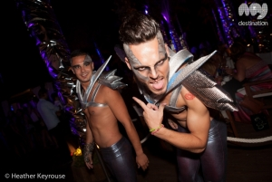 Futuristic dancers at Nikki Beach Marbella