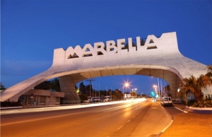 Marbella arch by night