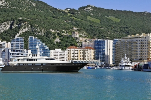 Superyacht at Ocean Village, Gibraltar