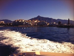 View of Puerto Banus from the back of a boat