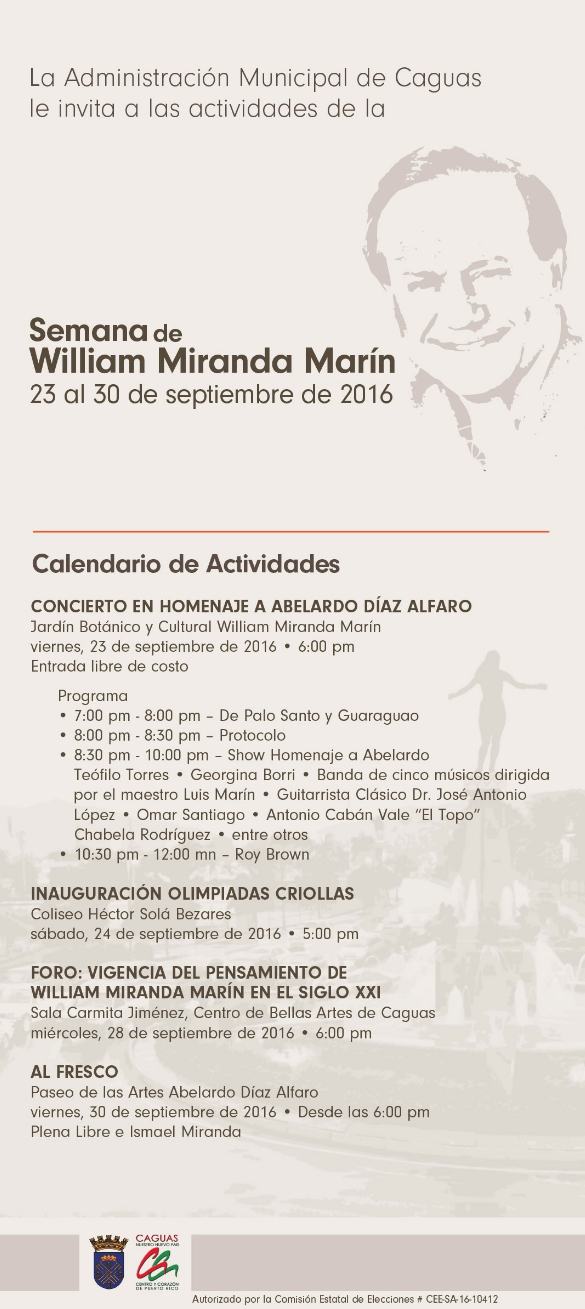 Flyer William Miranda Marín Week