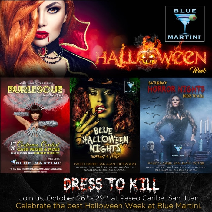 blue martini halloween week flyer