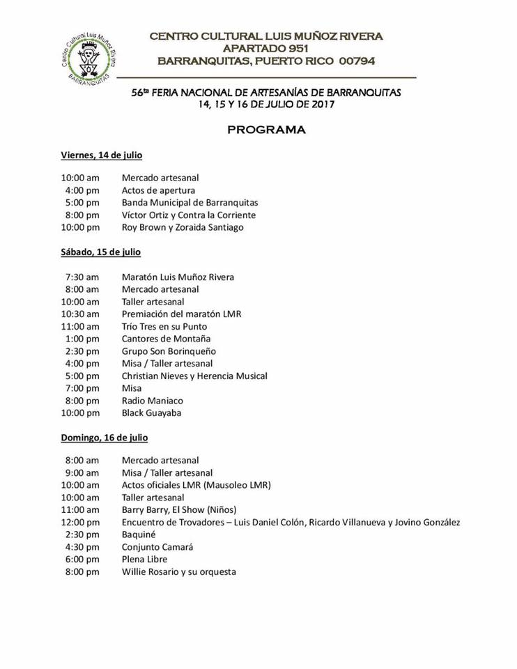 schedule of activities barranquitas artisan fair
