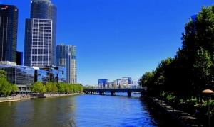A view down river toward Migration Bridge