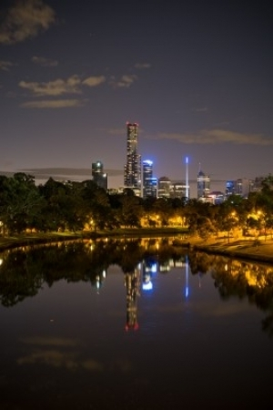 Night view of Melbourne from The Yarra