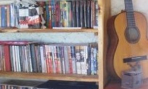 Books and Music Corner in the Restaurant