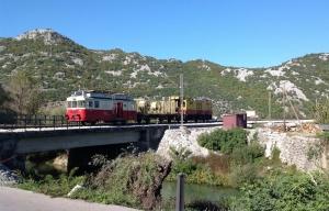 Train arriving at Virpazar