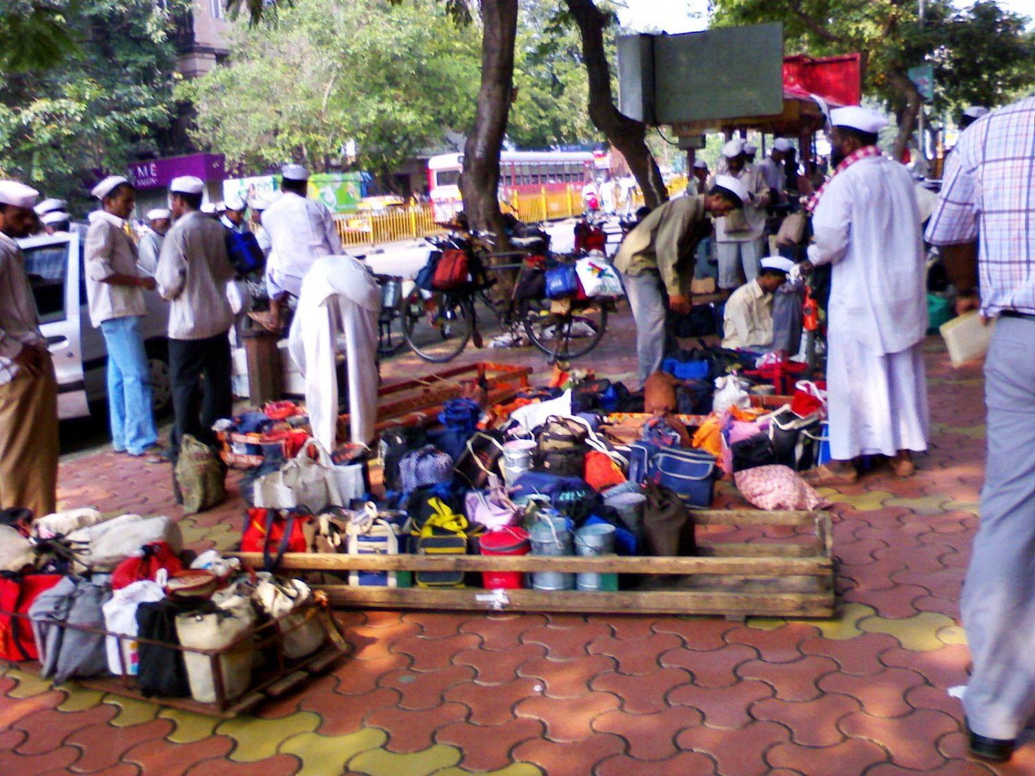 Dabbawalas on the roadside