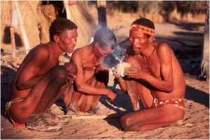 Bushmen making crafts