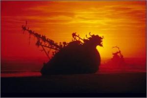 Shipwreck at sundown
