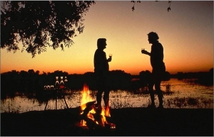 Sundowners on the Okavango River