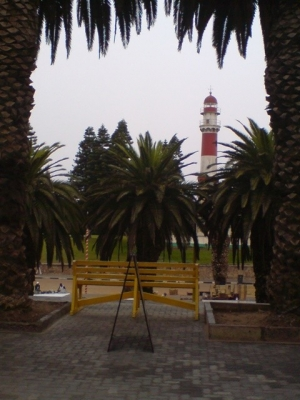 Swakopmund Lighthouse as seen from Cafe Anton