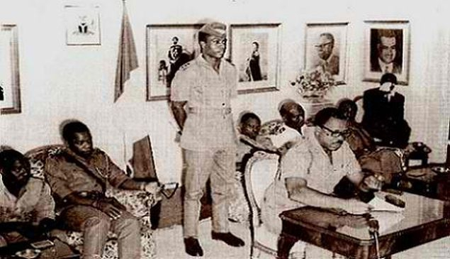 General Aguyi-Ironsi making his first speech as the military head of state