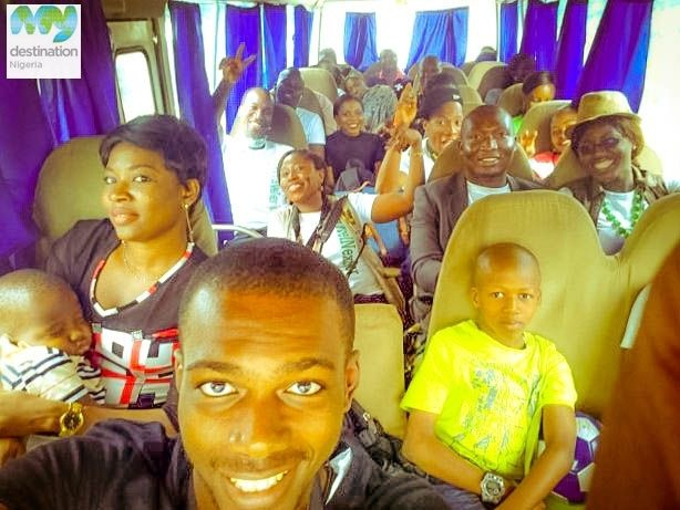 Tourist filled bus on the way to Badagry