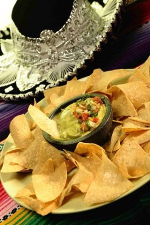 Chips and dips fiesta guacamole