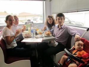 Family eating at Johnny Rocket