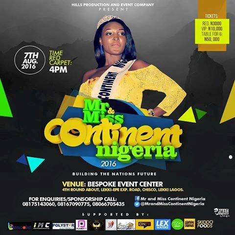 Mr and Miss Continent Nigeria (world) Pageants and Award 2016