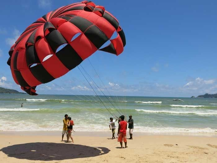 Paragliding off the beach