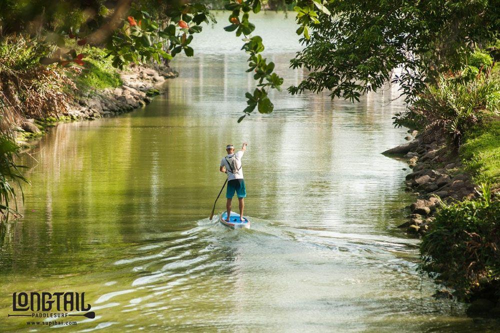 Paddling down a river