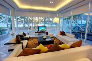 Enclosed living room with a view