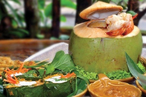 Seafood mousse & a young coconut