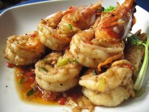 Garlic & pepper prawns