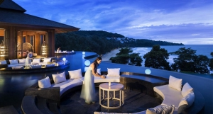 Enjoy the evening view from a sunken lounge