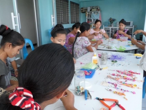 Making crafts to sell in The Good Shepherd shop