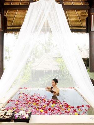A floral bath at The V Spa