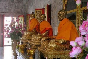 The three ex-abbots in the central temple at Wat Chalong