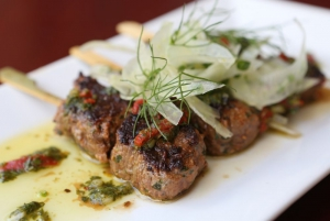 Lamb skewers w mint salsa verde and fennel salad