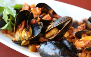Spanish Clams with Chorizo in a pimenton-wine broth