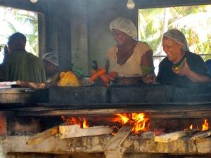 Preparing local delicacies in Piñones, Puerto Rico