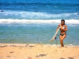 Surfer at Aviones Beach, Piñones, Puerto Rico
