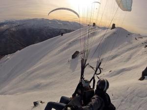 Winter Tandem Paragliding