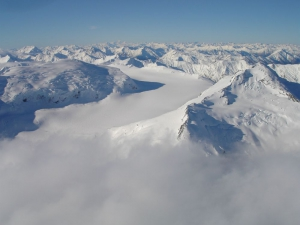 Passing Volta Glacier with Southern Alps Air