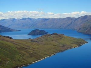 Aerial photo of Lake Wanaka and Mou Waho island