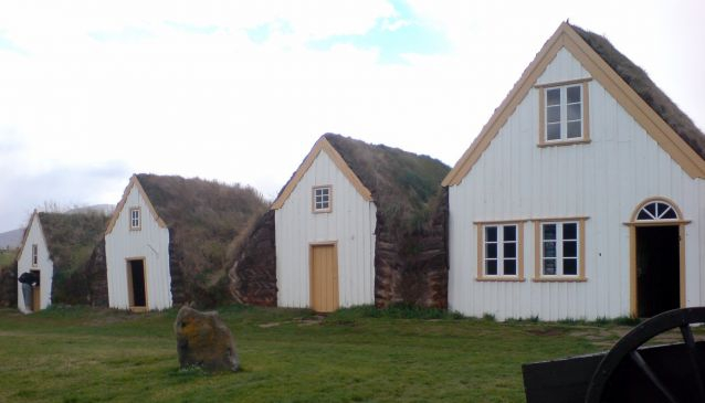 Turf houses at Glaumbær, similar to the houses likely depicted in Burial Rites