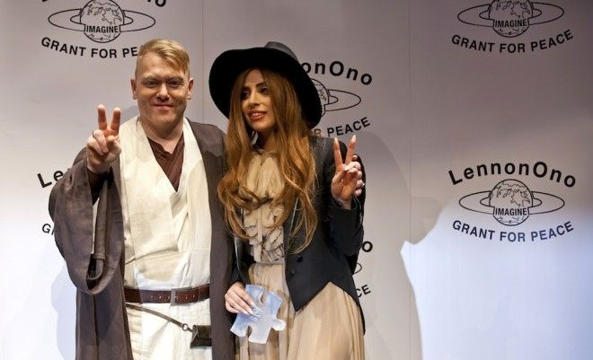 Mayor Jón Gnarr with Lady Gaga