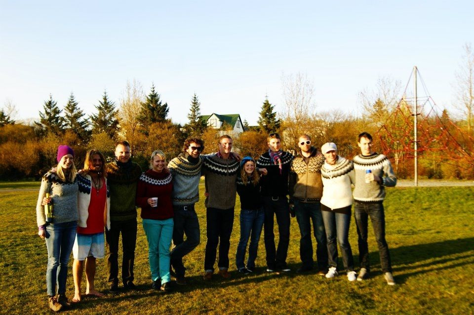 Steven in a group of good friends all wearing their Icelandic wool lopapeysa sweaters