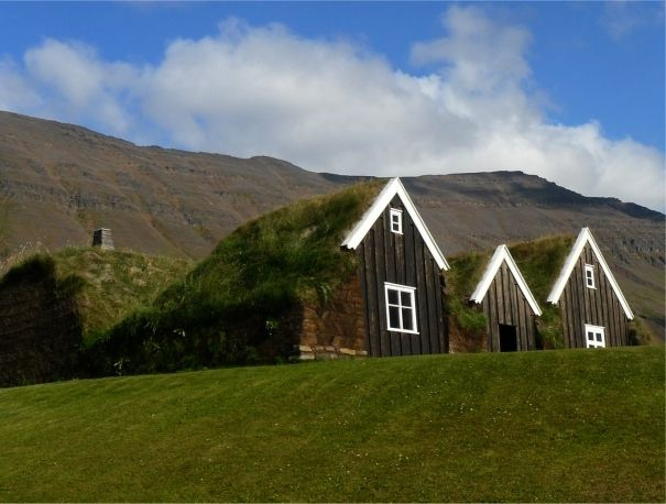 A reconstruction of a traditional Icelandic turf house is among the rich historical and archaeological heritage at Hólar