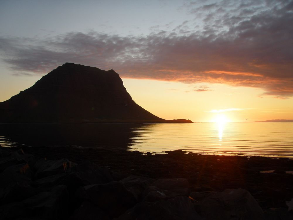 Mt Kirkjufell is beautiful in the sunset.