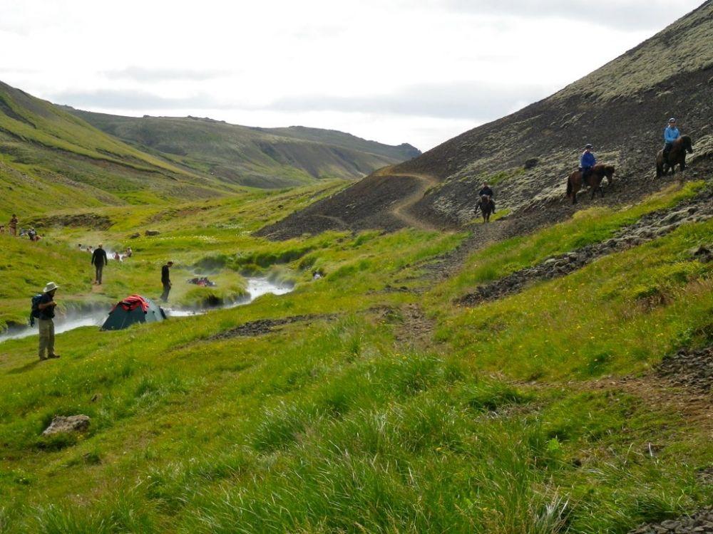 Reykjadalur hot spring valley near Hveragerdi in Iceland