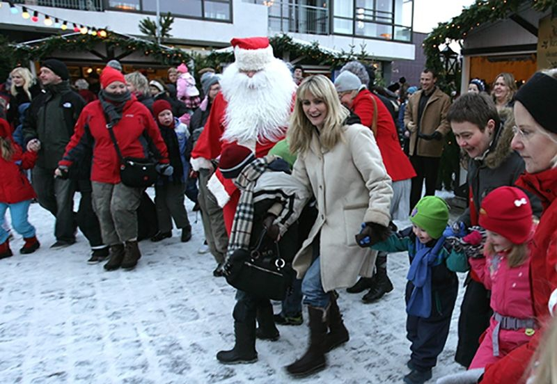 Santa Clause/Yule Lad entertaining children at the Christmas Village in Reykjavik