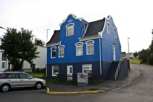 Old 1927 blue house in Akureyri Iceland